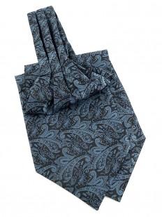 Ascot (Lavallière) bleue à motif cachemire