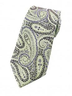 Paisley 80 - Cravate cachemire vert d'eau et motifs violets