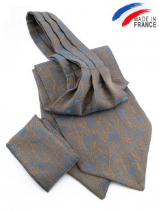 Ascot (Lavallière) gris bleuté à motif floral