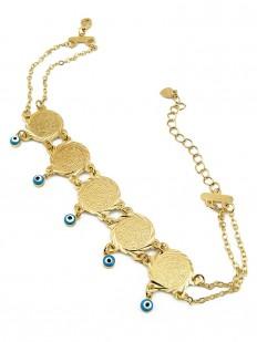Bracelet chaîne de pièces avec oeil de Turquie