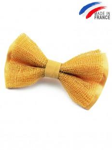 Noeud papillon jaune en fibre d'abaca