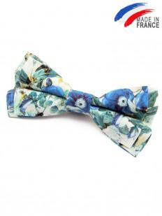 Noeud papillon à fleurs bleues