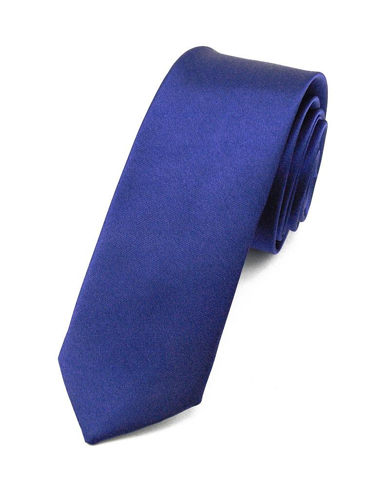 cravate slim en satin bleu roi. Black Bedroom Furniture Sets. Home Design Ideas