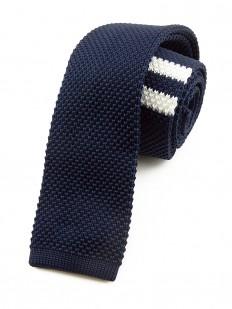 Cravate tricot bleu marine à rayures blanches
