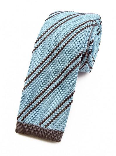 Cravate tricot bleu ciel à rayures grises