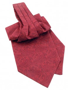Ascot (Lavallière) rouge bordeaux à motif cachemire