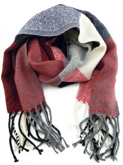 7685bb41d0af Écharpe Homme ou Femme laine de couleur rouge, écru et bleu