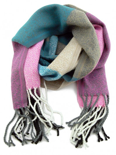 Écharpe à carreaux Beige, rose, gris et bleu