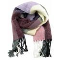 Écharpe à carreaux Violet, rose ivoire et gris
