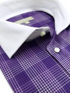 Lola - Chemise violette à carreaux et col blanc