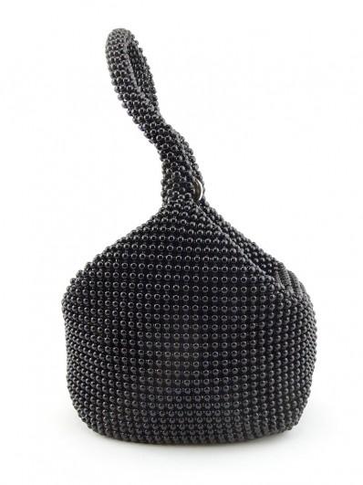 Petit sac bourse en perles noires,