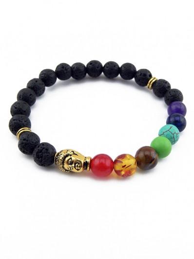 Bracelet 7 Chakras et tête de Bouddha dorée