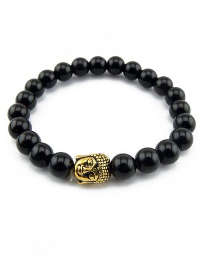 Bracelet en Onyx avec tête de Bouddha doré