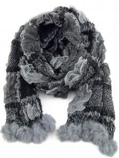 Écharpe tricotée grise et noire