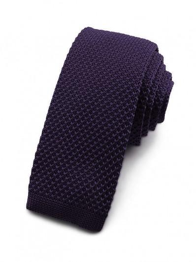 Cravate tricot violet foncé