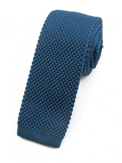 Cravate tricot bleu canard