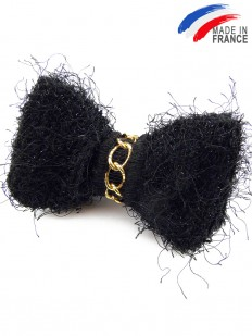 Noeud papillon tricot noir à paillettes