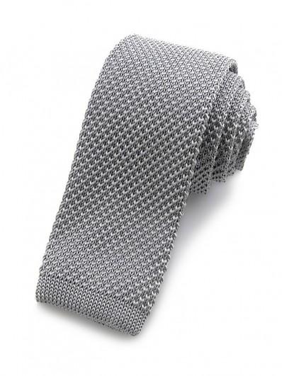 Cravate tricot gris argent