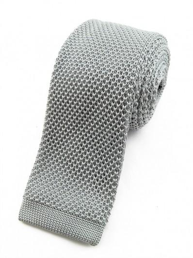 Cravate tricot gris clair