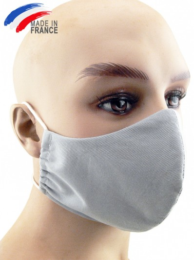 Masque de protection grand public en coton gris