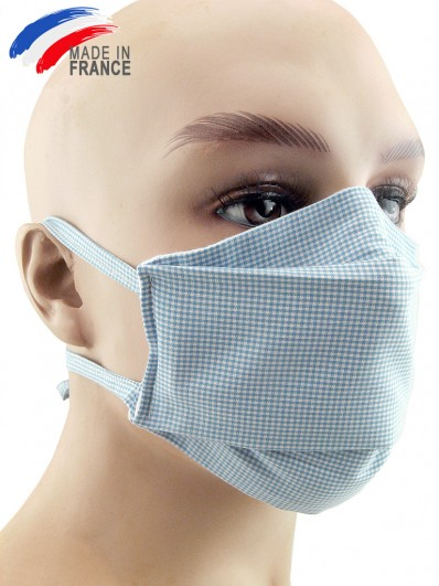 Masque de protection grand public en coton bleu ciel