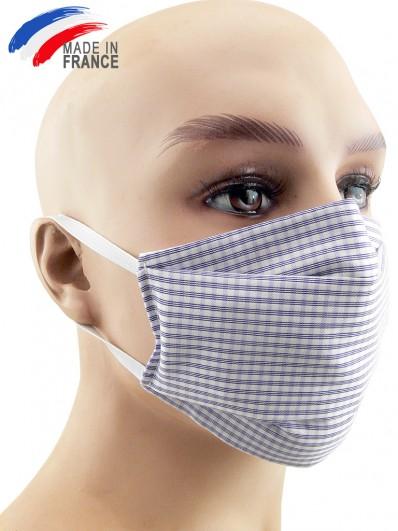 Masque de protection alternatif en coton violet clair et blanc