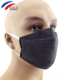 Masque de protection alternatif en coton à fines rayures