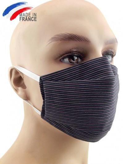 Masque de protection alternatif en coton à fines rayures