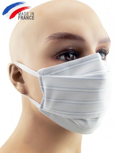Masque de protection alternatif en coton bleu ciel