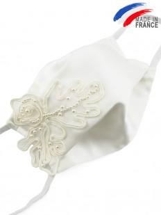 Masque de mariage satin blanc et perles