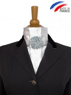 Cravate de dressage blanche et bleue