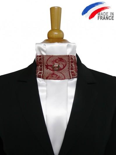 Cravate de dressage à décoration bordeaux et or