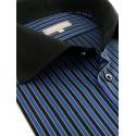 Chemise à rayures noires et bleues et fines lignes jaunes,