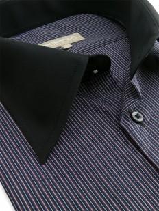 Angelina - Chemise Homme à rayures et col noir