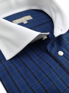 Chemise Écossaise à motif bleu, noir et jaune,