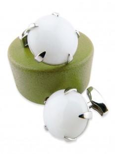 Stone 160 - Bouton de manchette en pierre blanche