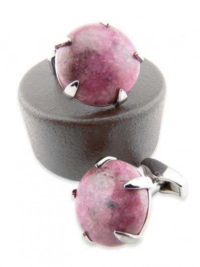 Stone 170 - Bouton de manchette rond en pierre rose