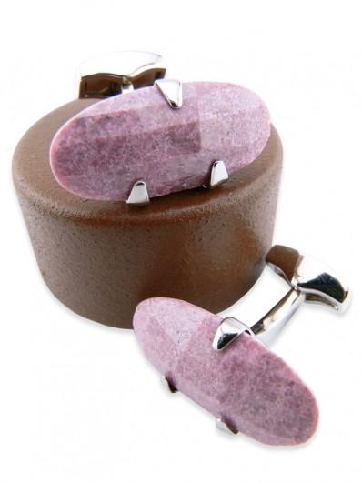 Stone 180 - Bouton de manchette en navette de pierre rose