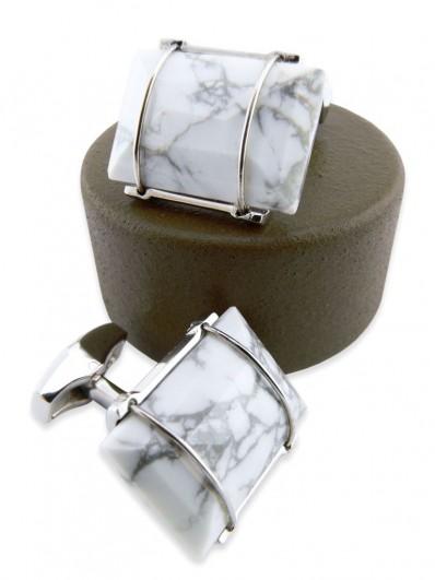 Stone 210 - Bouton de manchette en rectangle de pierre blanche