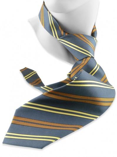 Stripe 230 - Cravate gris-bleu à rayures jaunes et ocres