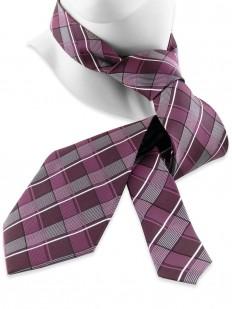 Check 90 - Cravate Écossaise en tartan couleur prune et blanc