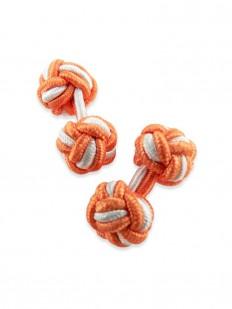 Knot 410 - Bouton de manchette en passementerie orange et blanche