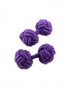 Knot 370 - Bouton de manchette en passementerie violet sombre
