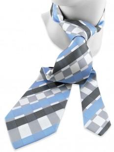 Check 150 - Cravate en soie grise et bleue d'allure moderne.