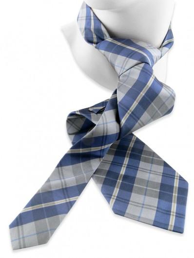 Check 140 -Cravate en Tartan de soie grise et bleue.